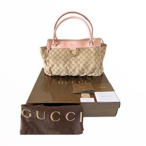 Gucci Beige Pink GG Canvas Gold D-Ring Tote Bags